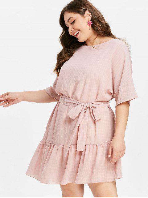 hot ZAFUL Plus Size Ruffles Belted Dress - LIGHT PINK L Mobile