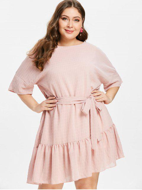 shop ZAFUL Plus Size Ruffles Belted Dress - LIGHT PINK 2X Mobile