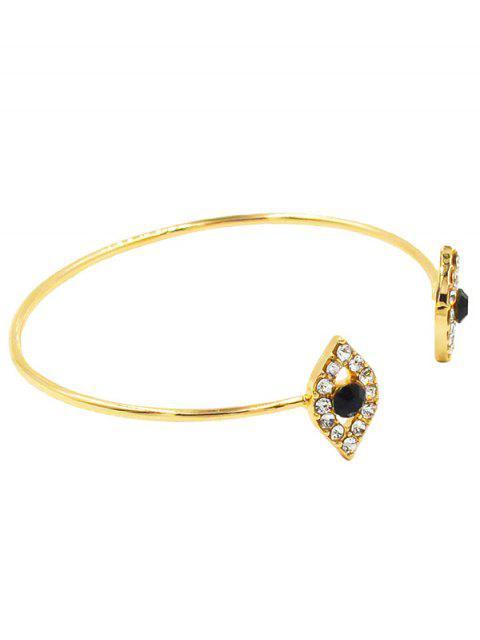 shops Shiny Rhinestone Inlaid Evil Eye Cuff Bracelet - GOLD  Mobile