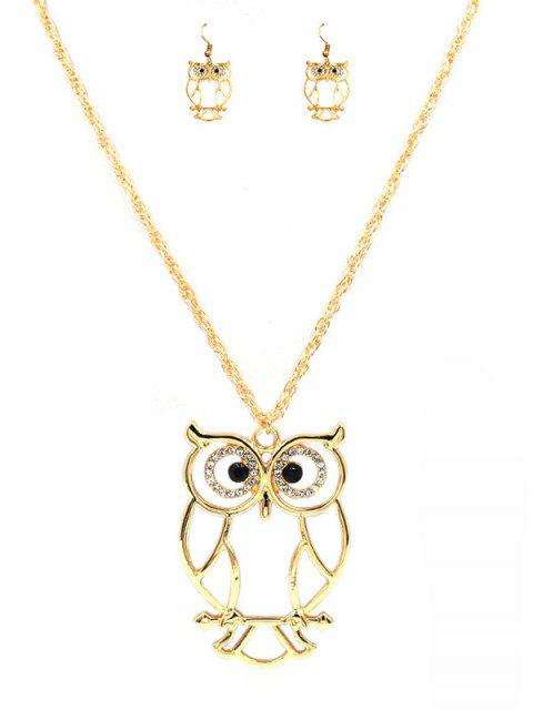 trendy Cartoon Owl Alloy Pendant Necklace and Earrings Suit - GOLD  Mobile