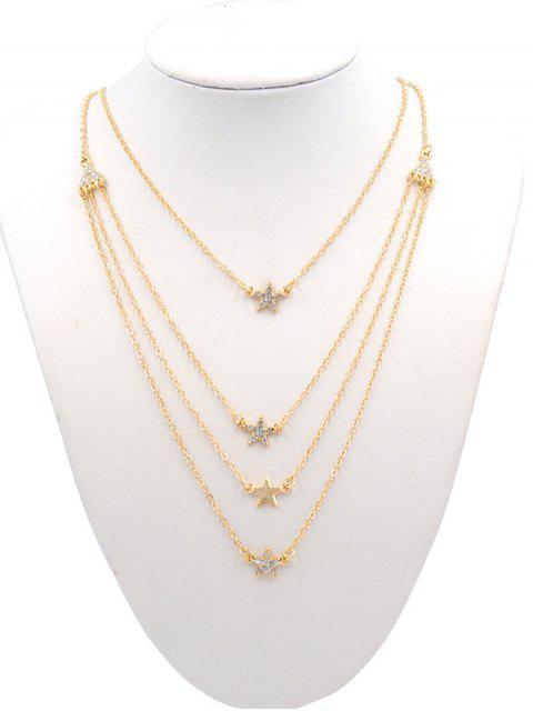 fashion Rhinestone Star Multi Layers Elegant Necklace - GOLD  Mobile
