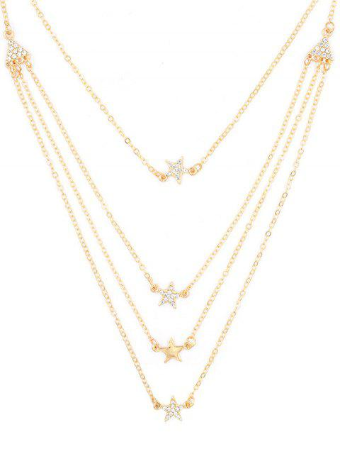 fashion Rhinestone Star Multi Layers Elegant Necklace - GOLD  Mobile