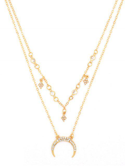 fancy Stylish Crescent Moon Rhinestone Multi Layers Necklace - GOLD  Mobile