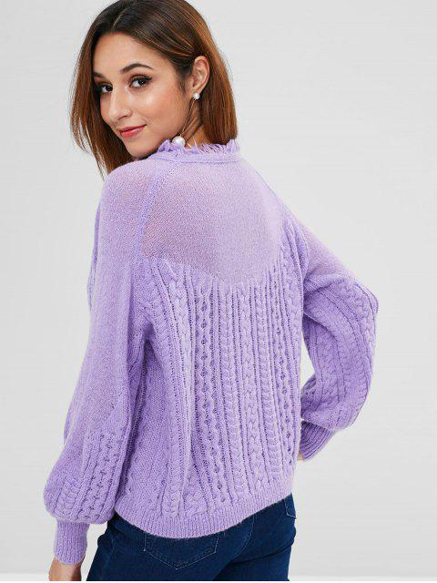 fashion ZAFUL Frayed Cable Knit Sweater - MAUVE ONE SIZE Mobile