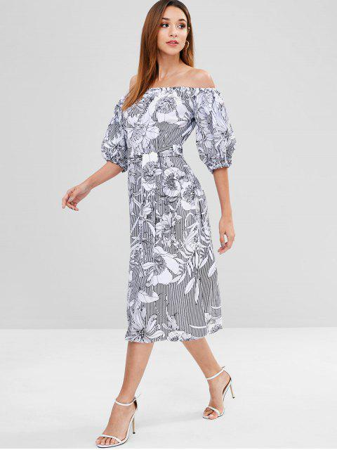 shop Puff Sleeve Flower Print Shift Belted Dress - WHITE S Mobile