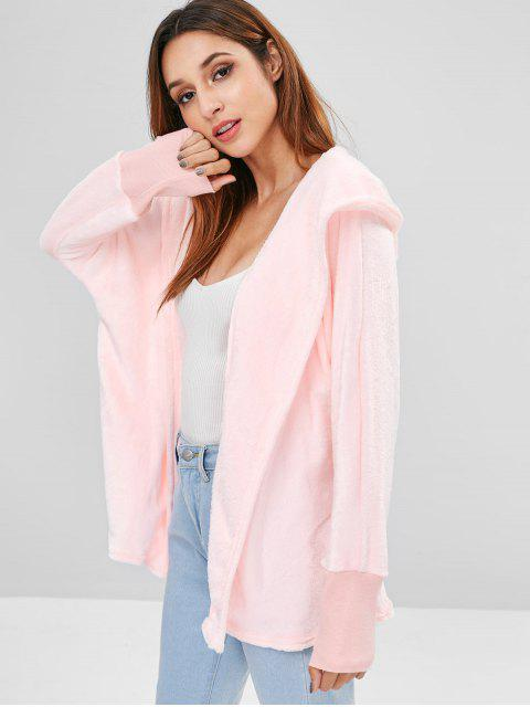 ladies Hooded Open Front Dolman Fleece Coat - PINK M Mobile
