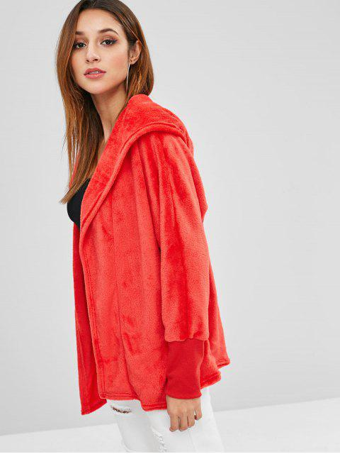 outfits Hooded Open Front Dolman Fleece Coat - RED XL Mobile