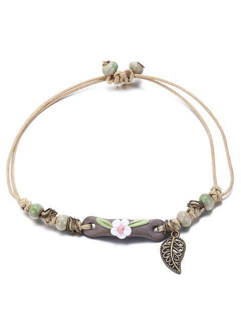 unique Ethnic Style Feather Floral Bracelet - DARK GREEN  Mobile