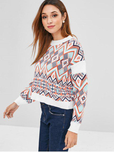 lady Geometric Graphic Loose Fitting Sweater - MULTI ONE SIZE Mobile