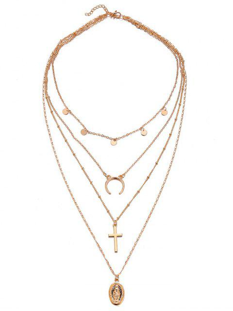buy Multi Layered Crescent Moon Cross Necklace - GOLD  Mobile