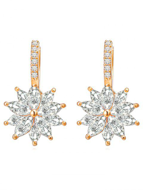 best Rhinestone Inlaid Floral Wedding Earrings - GOLD  Mobile