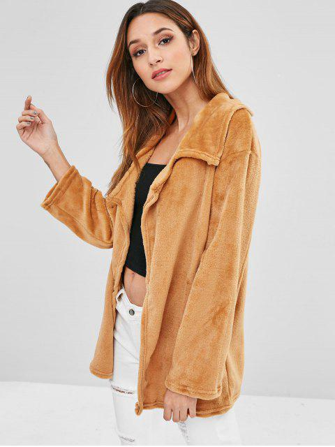 outfit Open Front Fleece Light Coat - LIGHT BROWN XL Mobile