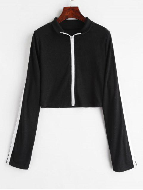 latest Ribbed Zip Up Crop Top - BLACK L Mobile