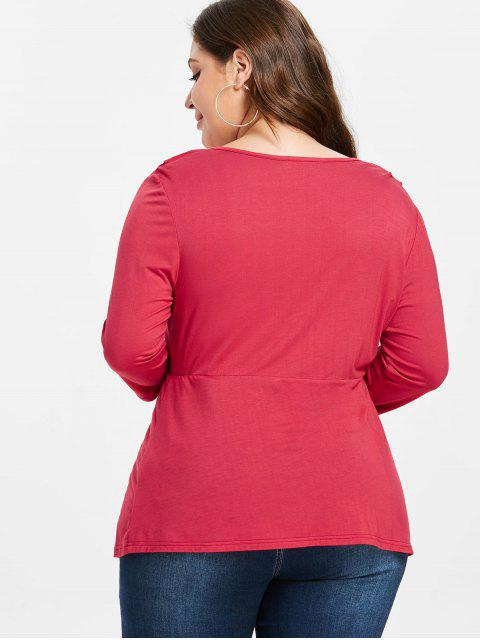 lady ZAFUL Plus Size Surplice Low Cut Tee - RED 1X Mobile