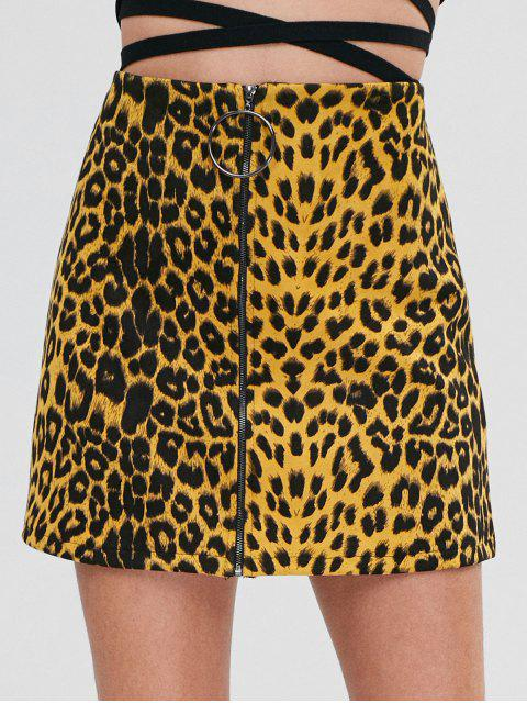 women's ZAFUL Zip Up Leopard Mini Skirt - LEOPARD S Mobile