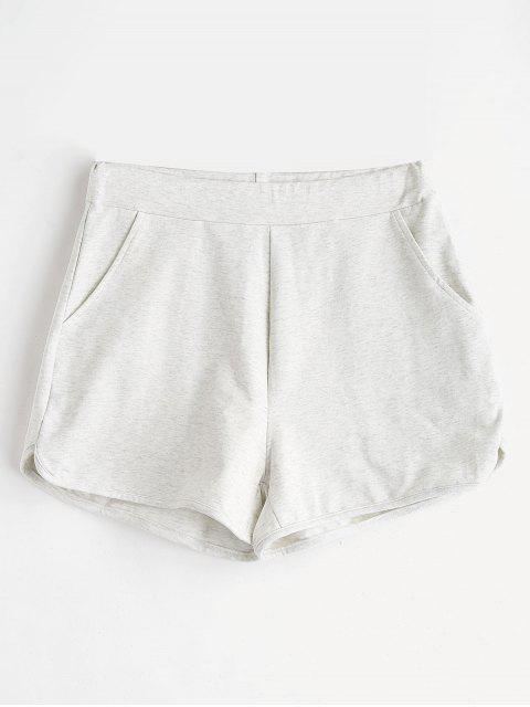 shop ZAFUL Pockets Sweat Shorts - LIGHT GRAY M Mobile