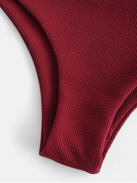 hot Textured One Shoulder Bikini - RED WINE S Mobile