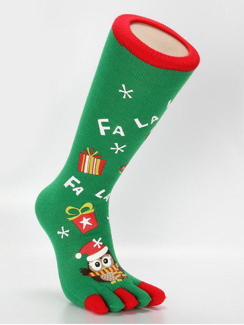 online Christmas Owl Full Toe Socks - CLOVER GREEN  Mobile