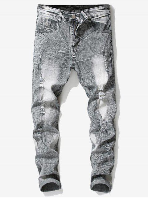 women's Retro Faded Ripped Wrinkled Jeans - LIGHT GRAY 42 Mobile