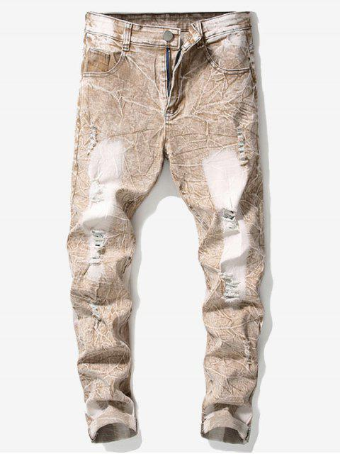 lady Retro Faded Ripped Wrinkled Jeans - ORANGE SALMON 34 Mobile