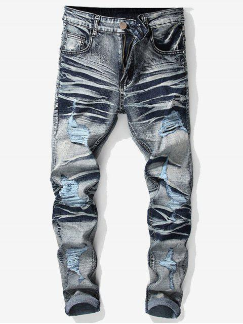 shop Vintage Ripped Wrinkled Jeans - DENIM BLUE 36 Mobile