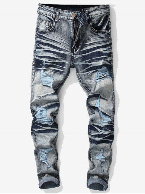 trendy Vintage Ripped Wrinkled Jeans - DENIM BLUE 42 Mobile