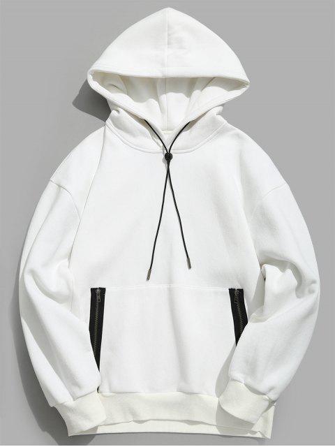 women's ZAFUL Front Zip Pocket Fleece Hoodie - MILK WHITE XL Mobile