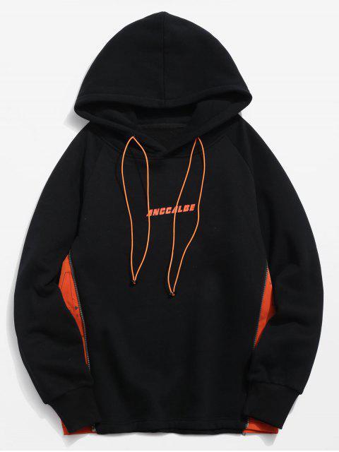 trendy ZAFUL Side Zipper Patchwork Contrast Fleece Hoodie - BLACK 2XL Mobile