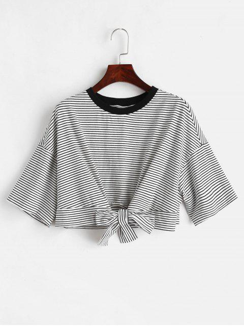 ZAFUL Front Knot Crop Striped Tee - Multicolor L Mobile