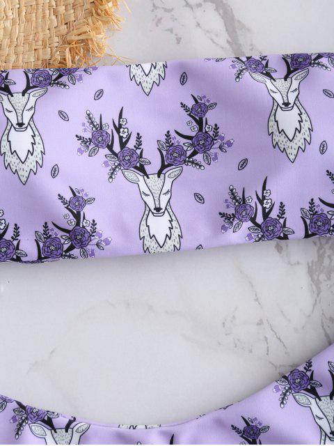 shops ZAFUL Elk Print Lace-up Bikini Set - MAUVE M Mobile