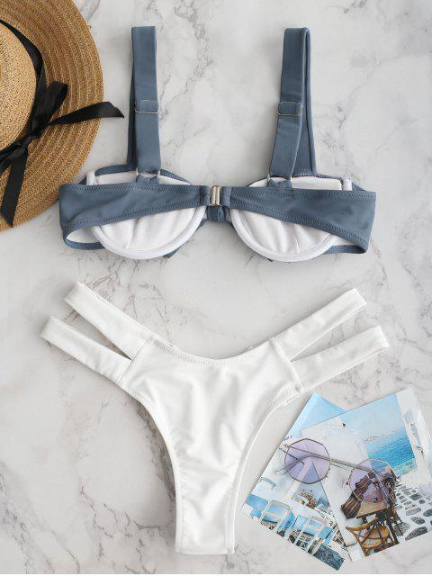fancy ZAFUL Underwire Knotted Cutout Bikini Set - MARBLE BLUE L Mobile