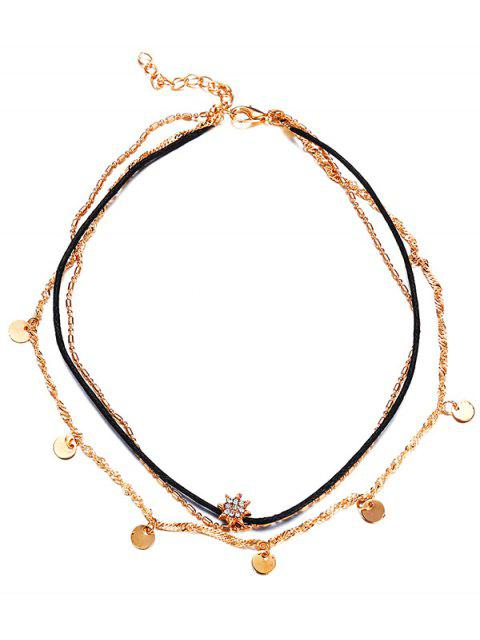 women's Stylish Round Sequins Rhinestone Multi Layers Choker Necklace - GOLD  Mobile