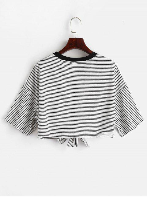womens ZAFUL Front Knot Crop Striped Tee - MULTI S Mobile