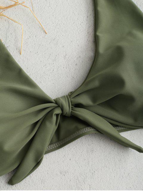 ZAFUL Ensemble de Bikini Noué Plongeant à Bretelle - Vert Camouflage L Mobile