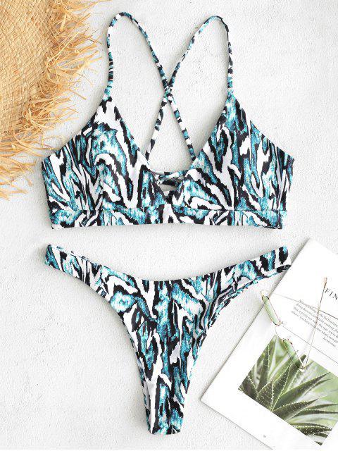 lady ZAFUL Printed Lace-up Bikini Set - MULTI L Mobile