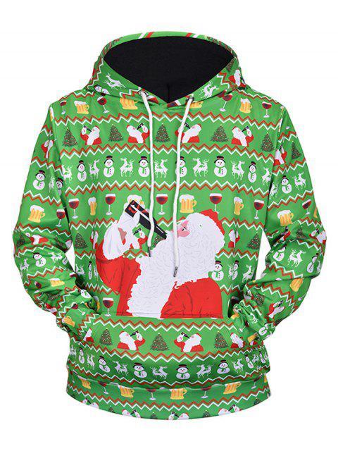 fancy Drinking Santa Claus Print Drawstring Hoodie - SEAWEED GREEN M Mobile