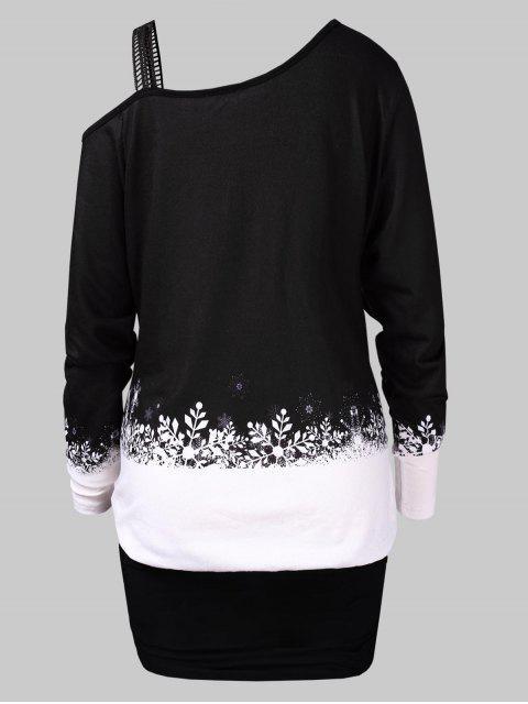 new Plus Size Christmas Elk Print Blouson T-shirt - BLACK L Mobile