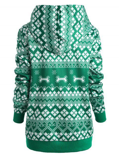 Plus Size Christmas Hat Pocket Hoodie - 綠色 L Mobile