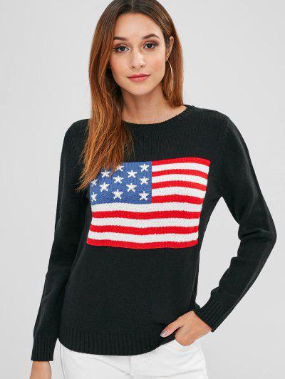 a38ad2703fc9 ZAFUL American Flag Graphic Sweater - Black S