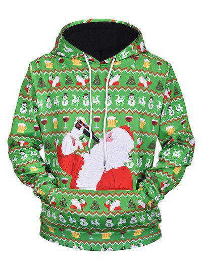 Drinking Santa Claus Print Drawstring Hoodie - Seaweed Green L