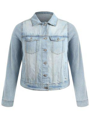 Plus Size Light Wash Jeansjacke