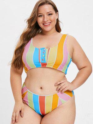ec71beac721 ZAFUL Stripe Buttoned Plus Size Tank Bikini Set - Multi L