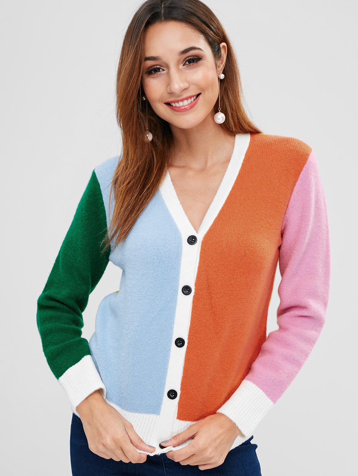 ZAFUL Color Block Button Up Cardigan