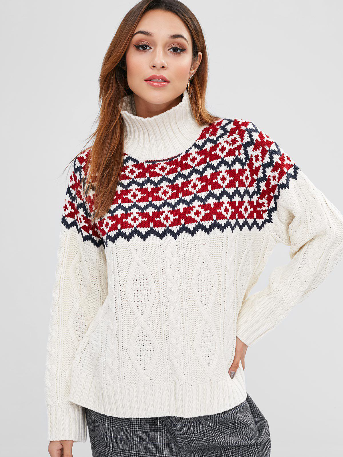 ZAFUL Cable Knit Turtleneck Graphic Sweater