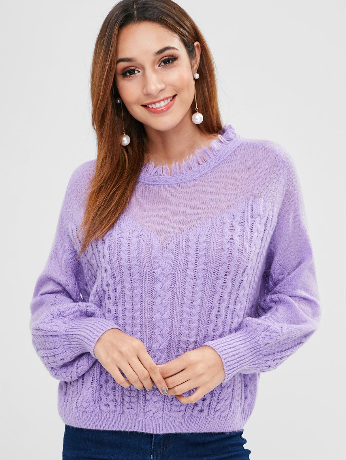 ZAFUL Frayed Cable Knit Sweater