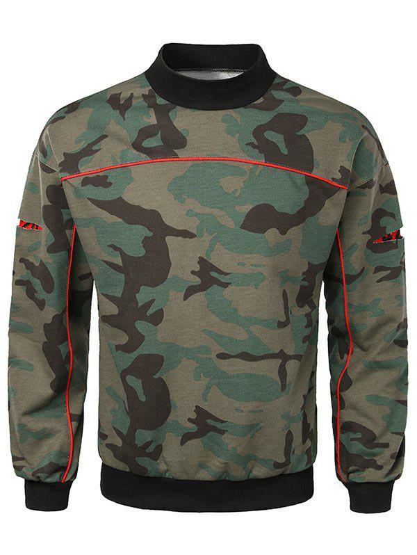 Casual Lay Open Sleeve Camouflage Sweatshirt