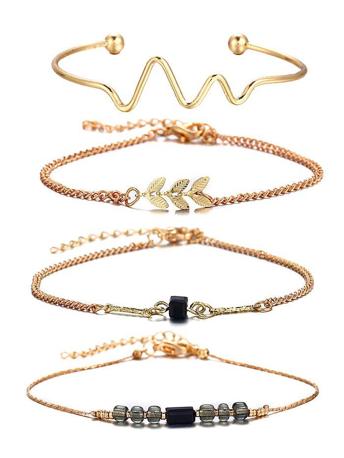 4 Pcs Wave Feather Beaded Alloy Bracelet Set