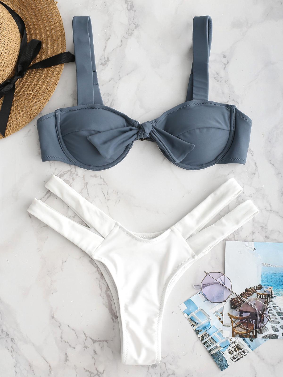 ZAFUL Underwire Knotted Cutout Bikini Set, Marble blue