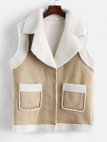 جيب فو الجلد المدبوغ رقيق صدرية - مشمش