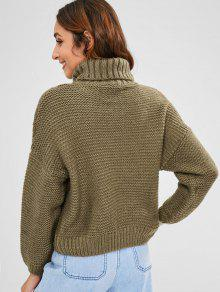 ca6625983c54 57% OFF  2019 Cable Knit Turtleneck Chunky Sweater In KHAKI